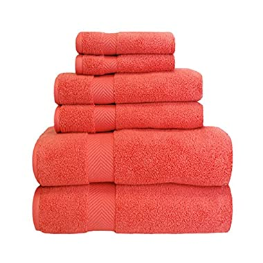 Superior Collection 100% Zero Twist Cotton Super Soft and Absorbent 6 - Piece Towel Set, Coral