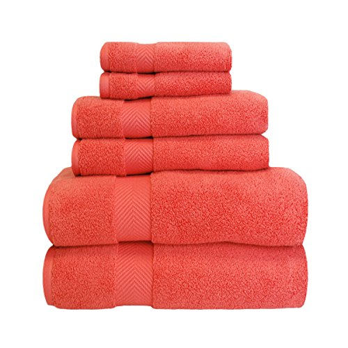 Superior Zero Twist 100% Cotton Bathroom Towels, Super Soft, Fluffy, and Absorbent, Premium Quality 6 Piece Towel Set with 2 Washcloths, 2 Hand Towels, and 2 Bath Towels – Coral