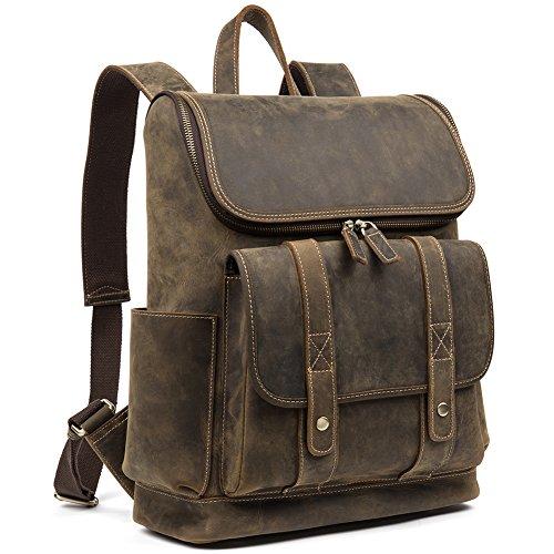 WESTBRONCO Men Backpack Best Cowhide Travel Bag College Office Daypack Fits 15'' Laptop by WESTBRONCO