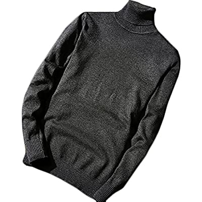 Nanquan Men Slim Cable Knitted Round Neck Long Sleeve Pullover Sweater