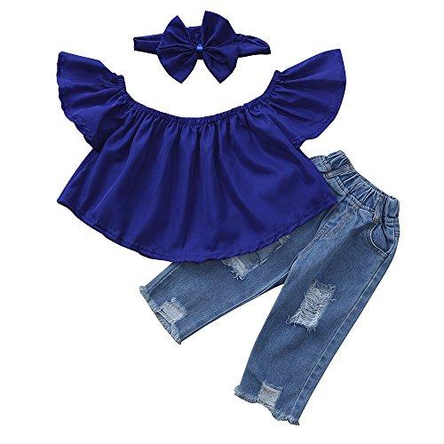 WOCACHI Baby Girls 3PCS Sets Off Shoulder Crop Tops + Hole Denim Pant Jean Headband Toddler Kids Clothes Spring Deals Blue ()