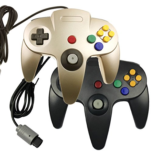 2-x-game-gaming-pad-console-controllers-for-nintendo-64-n64-black-gold