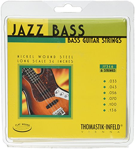 Thomastik-Infeld JF346 Bass Guitar Strings: Jazz Flat Wounds 6-String Long Scale Set; Pure Nickel Flats C, G, D, A, E, B Set