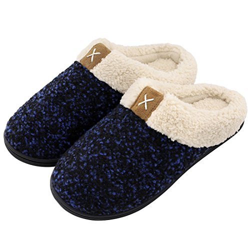 Women's Comfort Memory Foam Slippers Wool-Like Plush Fleece Lined House Shoes w/Indoor, Outdoor Anti-Skid Rubber Sole (Medium/7-8 B(M) US, Royal Blue) by ULTRAIDEAS