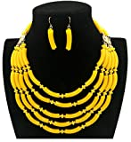 Shineland Fashion Exaggerated Colored Hand-beaded Multi-layer Collarbone Necklace Earring (Yellow)