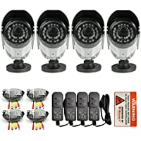 iSmart 4-pack 700TVL Color Heavy Duty Surveillance CCTV Camera with IR-CUT Security System Kit, 3.6mm Lens, with 30 IR Leds, C1006DP74
