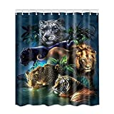 Adarl Waterproof Bath Curtains Bathroom Shower Curtain Set of 12 Rings for Bathroom Decor Tiger A