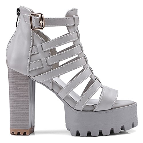 Artfaerie Women's Block High Heels Gladiator Summer Short Boots Peep Toe Ladies Pumps with Platform Grey XfFw3