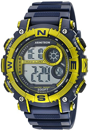 Armitron Sport Men's 40/8284NVLG Light Green-Accented Digital Chronograph Watch with Matte Blue Resin Strap (Light Blue Men Watches compare prices)