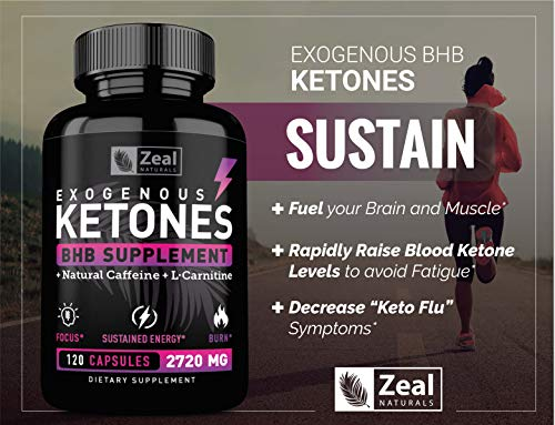 Exogenous Ketones BHB Keto Pills (2870mg   120 Capsules) Keto Diet Pills w. MCT Oil, BHB Salts Beta Hydroxybutyrate, Natural Caffeine - Keto Supplement for Keto Weight Loss - Keto Diet from Shark Tank by Zeal Naturals (Image #3)