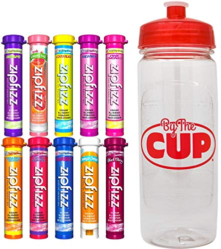 Zipfizz Energy Drink Mix Variety, 10 Caffeinated Flavors with By The Cup Sports Bottle ()