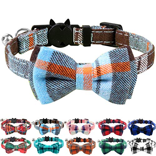 Joytale Breakaway Cat Collar with Bow Tie and Bell Cute Plaid Patterns, 1 or 2 Pack