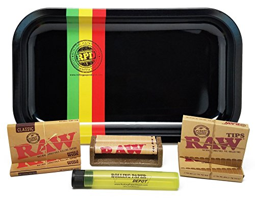 Rasta Single (Bundle - 7 Items - Rolling Paper Depot Rolling Tray (Rasta Racer)with RAW Natural Single Wide Rolling Papers, Pre-Rolled Tips, 70mm Roller and Doobtube)