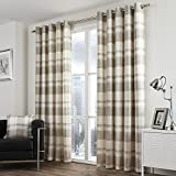 Cheap Tony's Textiles Pair Of Check Striped Lined Window Curtain Panels With Eyelet Grommet Top 90″Wide x 90″Drop Beige Ivory