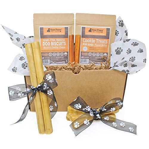 Raw Paws Pet Dog Birthday Treats Gift Box for Medium Dogs - Dog Chews and Treats Variety Pack - Birthday Gifts for Dogs - Dog Gift Pack - Natural Rawhide -