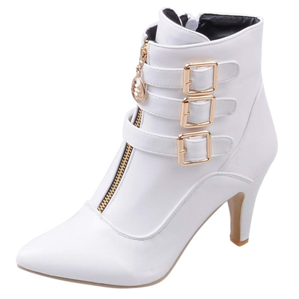 Women's Leather High Heel Side Zipper Ankle Booties Buckle Strap Pointed Toe Short Boots Ladies Dress Shoes White by SSYUNO