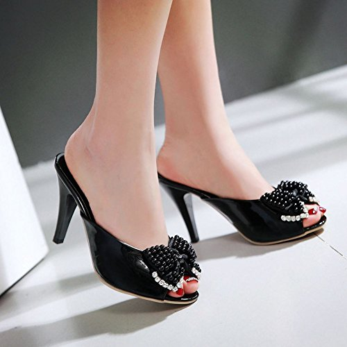 Beaded Women's New Black Style Sandals Carolbar Peep Chic High Bow Heel Toe qFIdOg