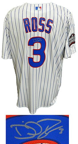 David Ross Signed Chicago Cubs White Pinstripe 2016 World Series Patch Majestic Replica Jersey - Certified Authentic