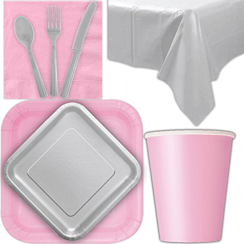 Disposable Party Supplies for 28 Guests - Lovely Pink and Silver - Square Dinner Plates, Square Dessert Plates, Cups, Lunch Napkins, Cutlery, and Tablecloths: Premium Quality Tableware Set -