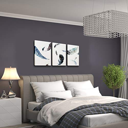 Abstract Art in White Background Dancing Feathers on Canvas Print Wall Art Framed Modern Picture Artwork Decoration for Bathroom Bedroom Living Room 16x36 inches]()