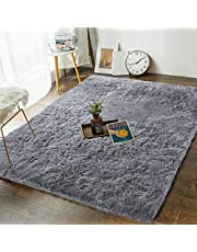 Andecor Soft Bedroom Rugs - 4' x 6' Shaggy Floor Area Rug for Living Room Kids Room Home Decor Carpet, Grey
