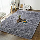 Soft Bedroom Rugs - 4' x 5.3' Shaggy Floor Rugs Nursery Carpet for Living Room Kids Room Nursery Home Decor Area Rug by AND BEYOND INC, Grey