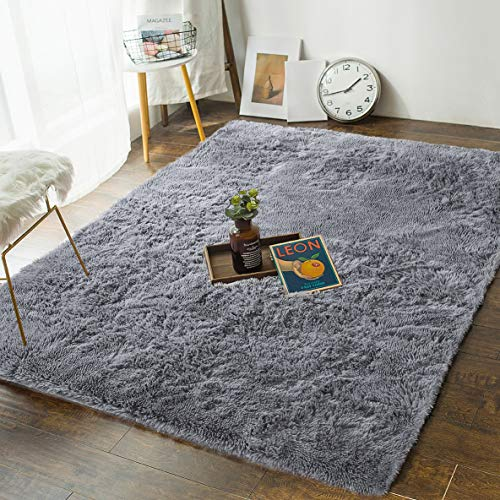 Soft Bedroom Rugs - 4' x 5.3' Shaggy Floor Area Rug for Living Room Kids Room Home Decor Carpet by AND BEYOND INC, Grey (Area Floor Rugs)
