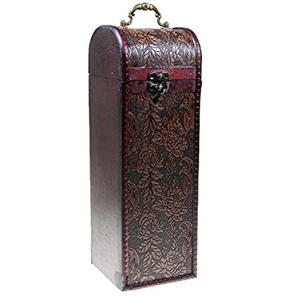 CHRISTIAN GAR Caja de Madera Decorada para Botella de Vino - Caja para Regalo/Decoración