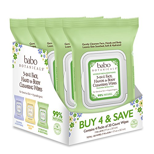 Babo Botanicals 3-in-1 Hydrating Face, Hand & Body Wipes, Cucumber & Aloe Vera, 30 Count (pack of 4)