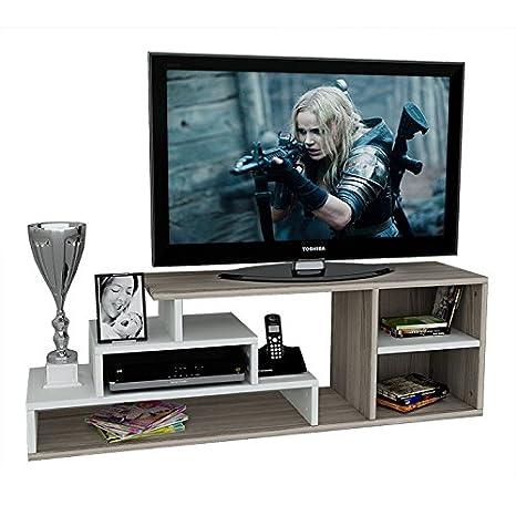 LUCA Set Soggiorno - Mobile TV Porta - Parete attrezzata in design moderno (Bianco/Avola) Homidea