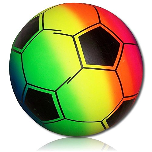 (Custom & Unique {228mm} 1 Single, XL Size Super High Bouncy Balls, Made of Grade A+ Rebound Rubber w/ Bright Novelty Rainbow Neon Color Playground Sports Player Kick Soccer Ball)