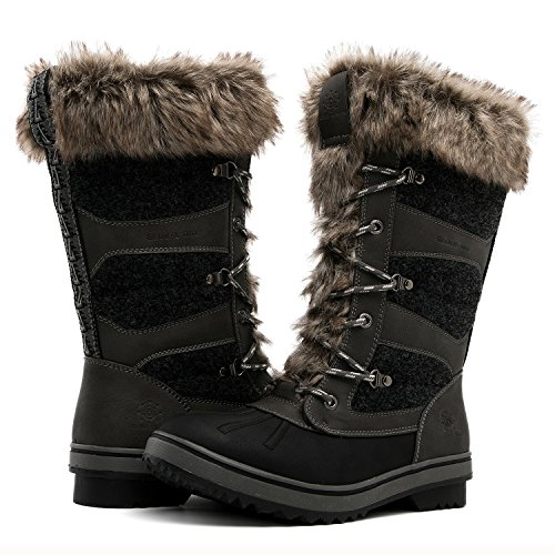 GLOBALWIN Women's 1730 Grey Waterproof Winter Boots 9M US