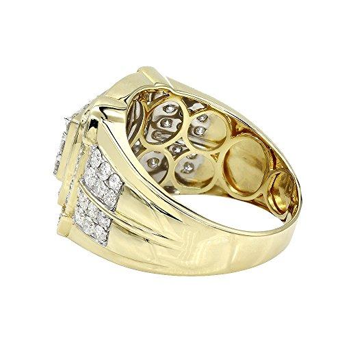 Mens Pinky Rings 10K Rose, White, Yellow Gold 2.5 Carat Diamond Band 2.5ctw (Yellow, Size 10) by Luxurman (Image #1)