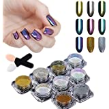 BORN PRETTY 9 Boxes Nail Art Mirror Dust Chrome Powder Holographic Chameleon Pigment Glitter For Manicure Makeup