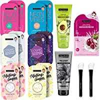 Freeman Beauty Face Masks Skincare Collection - 17 Piece Variety Pack - Peel-Off, Clay, Gel and Sheet Mask, Silicone Brushes, and Peel Pad