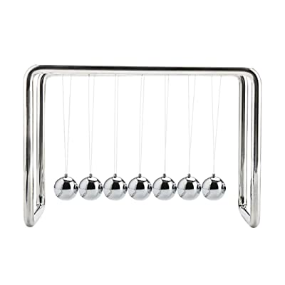 Newtons Cradle Balance Large 7 Balls White Fun Science Physics Learning Toy Fun Gadget Pendulum for Office Desk Toys and Home Decoration-Large 7 White Ball: Toys & Games