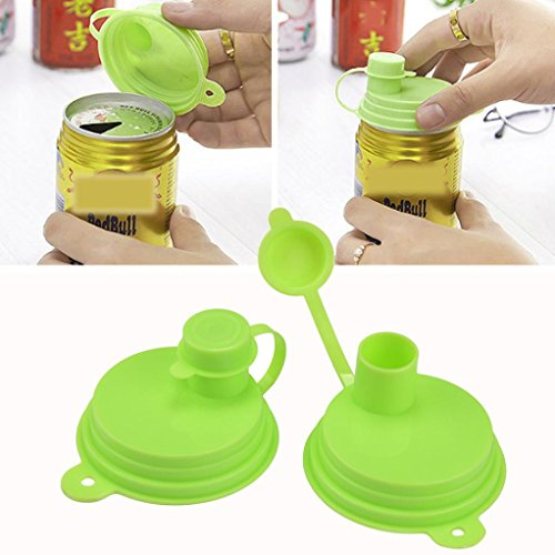 E(TM)Easy Pull Can Drink Leak Proof Sealing Cover Portable Sealing Device 1 Bag 2PCS (A) ()