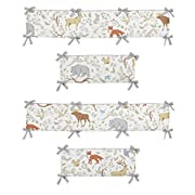 Sweet Jojo Designs Blue, Grey and White Woodland Animal Toile Collection Girl or Boy Crib Bumper