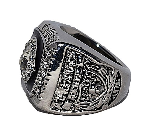 OAKLAND RAIDERS (Owner Al Davis) 1976 SUPER BOWL XI WORLD CHAMPIONS Vintage Rare & Collectible High Quality Replica NFL Football Silver Championship Ring with Cherrywood Display Box