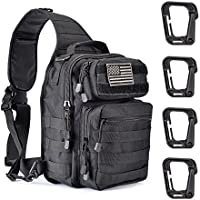 Weanas Tactical Sling Bag Pack, Military Shoulder Sling Backpack with 4 Tactical D-Ring Clips