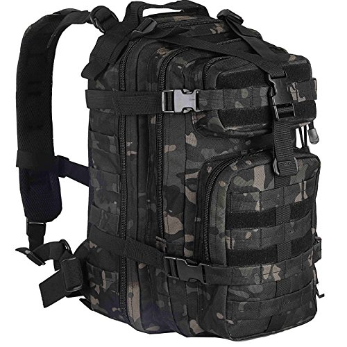 WolfWarriorX Military Tactical Assault Backpack Hiking Bag Extreme Water Resistant Small Rucksack Molle Bug Out Bag for Traveling, Camping, Trekking & Hiking (Black) (Black Multicam)