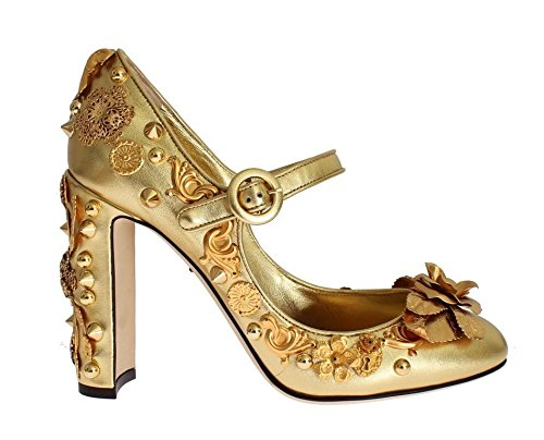 Dolce & Gabbana Gold Leather Floral Studded - Shoes Gold Dolce Gabbana