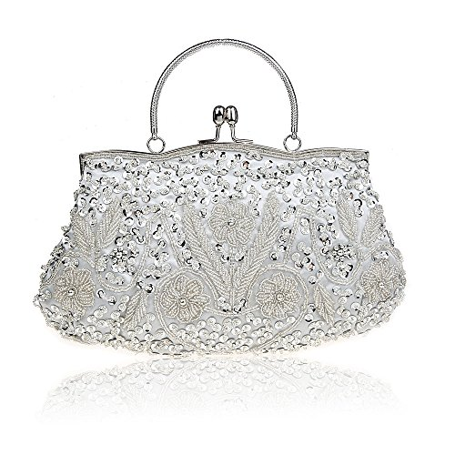 MY Women's Vintage Sequin Beaded Kiss Lock Evening Bags Wedding Party Handbag Clutches Purse,Silver
