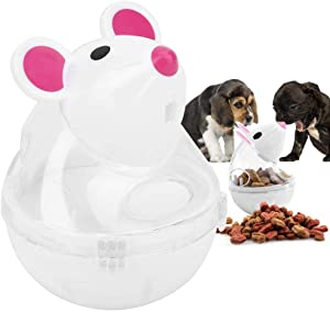Yutiny Mice Tumbler IQ Treat Ball Dog Cat Slow Feeder Food Dispenser eaking Food Pet Treat Ball Puppy Puzzle Shaking Toys Automatic Spinning Cat Mouse Toy Tumbler