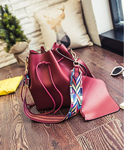 Red Ouneed Bag Shoulder Bucket Bag Drawstring Retro Fashion Women S6Sw8xA