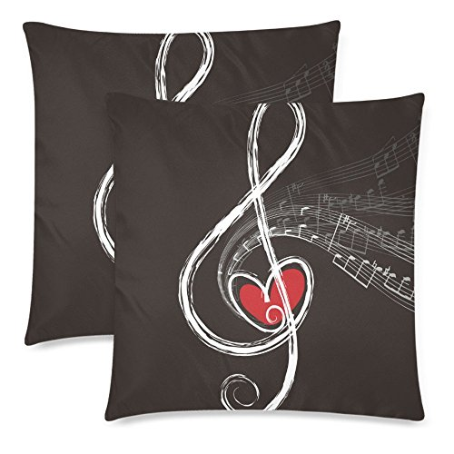 InterestPrint 2 Pack Treble Love and Music Notes Cotton Throw Pillowcase 18x18 Twin Sides, Musical Music Note Zippered Pillow Cushion Case Cover Set Decorative for Couch Bed