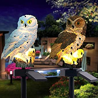 Farolillos de jardín con forma de búho, luz solar, luz de paisaje, lámpara de césped nocturna, lámpara de jardín al aire libre, iluminación de decoración, impermeable, luz solar, pvc, marrón, medium: Amazon.es: