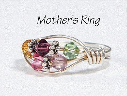 Silverado Crystal - 5 Stone Mother's Birthstone Ring: Personalized Sterling Silver Mom's Multistone Family Ring. Five Swarovski Crystals. Christmas, Mother's Day, Valentines Day, Anniversary, New Baby