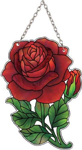 Red Stained Glass Suncatcher - Joan Baker Designs SSB1015R Red Rose Art Glass Suncatcher, 3 by 4-Inch