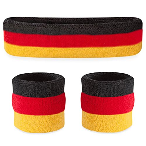 Suddora Striped Sweatband Set - (1 Headband and 2 Wristbands) Cotton for Sports & More. (Black Red Yellow) -